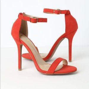 Lulus Elsi Orange Red suede Single Strap heels